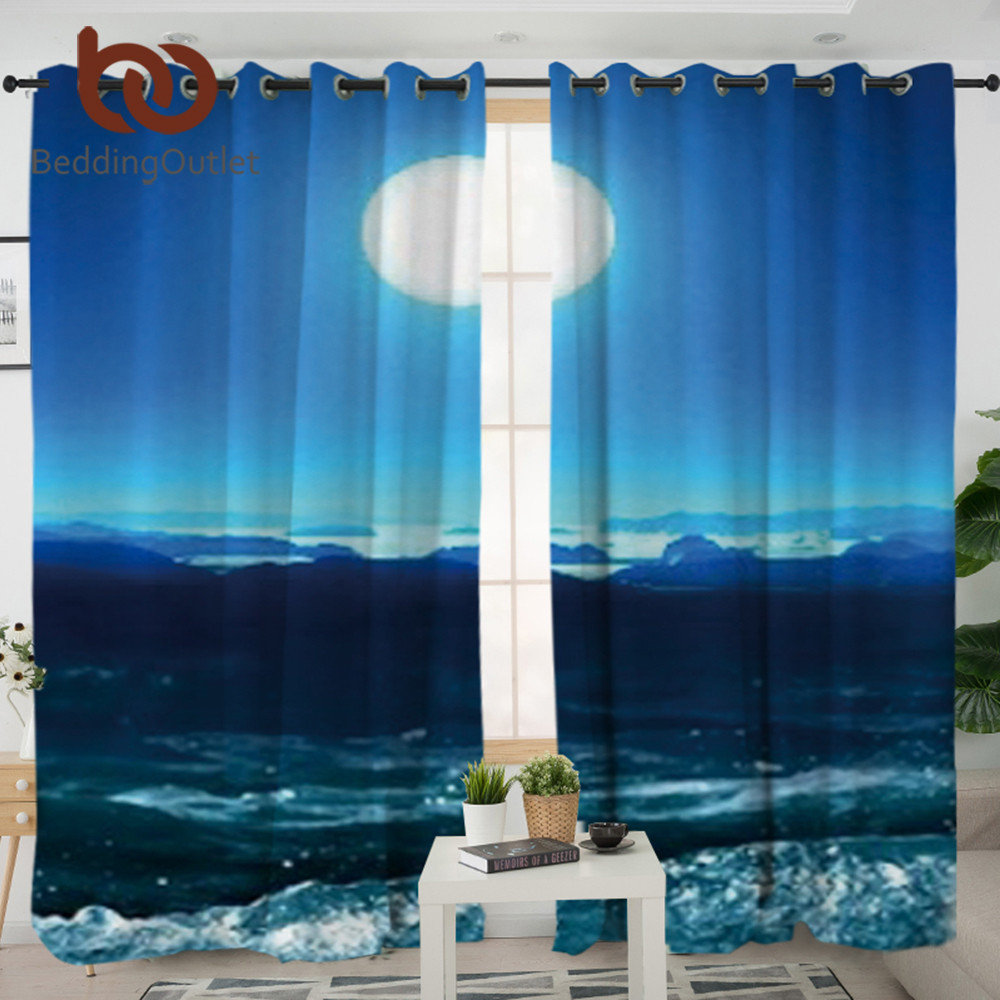 BeddingOutlet Moon and Sea Curtains for Living Room 3D Printed Decorative Curtain Window Treatment cortina para sala 132x213cm