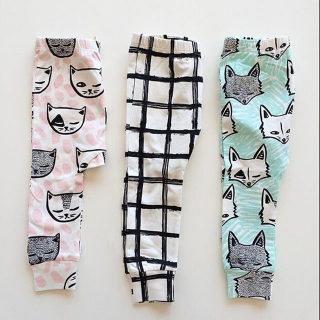 Retail free shipping Children kid's Girls autumn/spring 2016 INS NEW Design Fox print Haren pants Children Trousers 50% off now