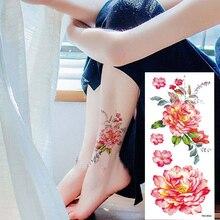 646a20679 1 piece flash henna tattoo fake temporary tattoos stickers sexy rose peony  flowers arm shoulder tattoo