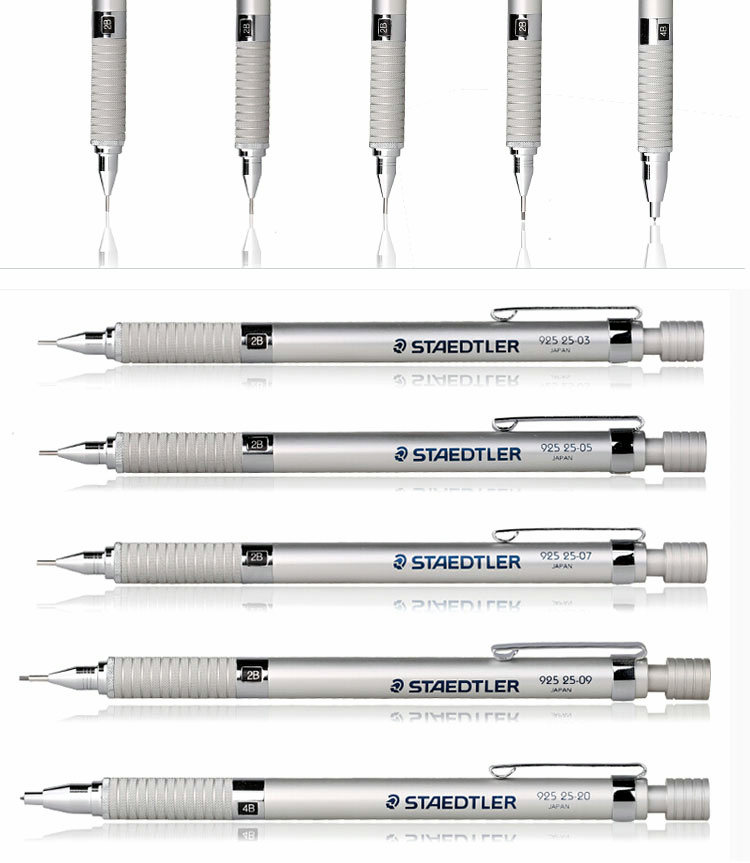 STAEDTLER 925 25 grafito redacción lápiz mecánico 0,3/0,5/0,7/0,9/2,0mm 5 Lápices funda de cuero Pack-in Lápices mecánicos from Suministros de oficina y escuela    2
