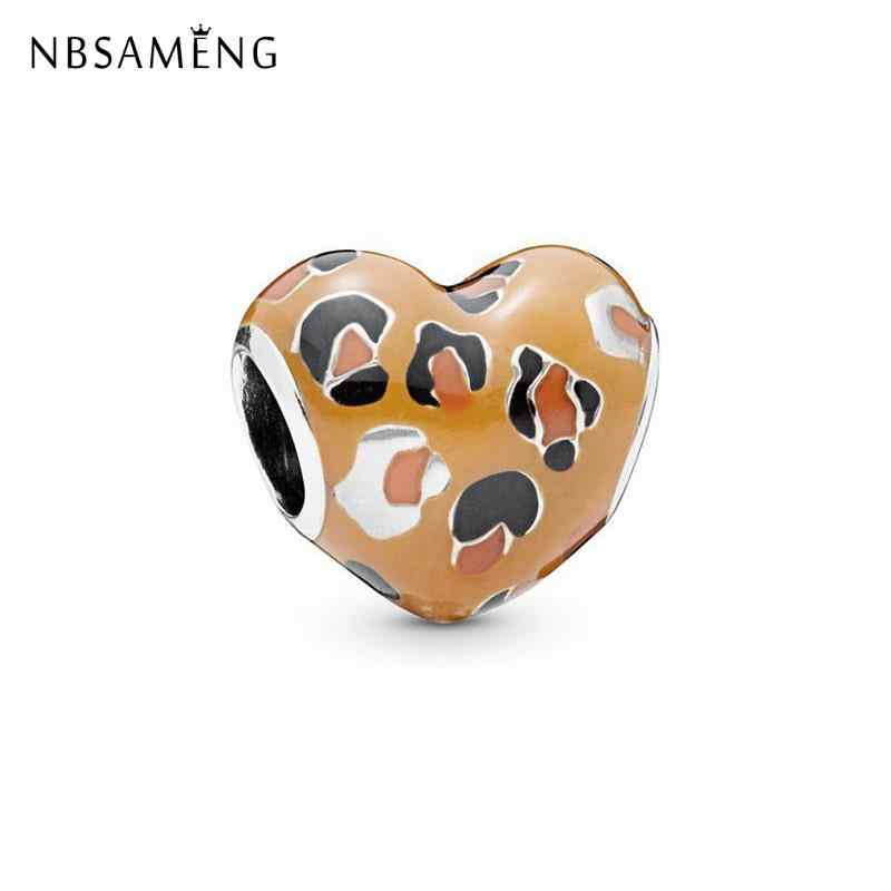 Fashion Heart Silver Plated Beads Charm Exotic Fairy Dream Leopard Love Bead Charms Fit Pandora Women Bracelet Jewelry Gift 2019