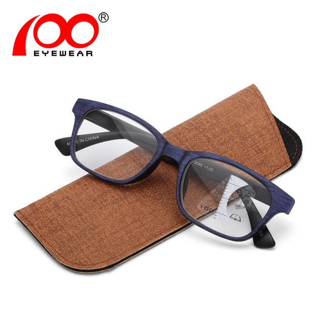 Multifocal reading glasses men bifocal Imitation wood Anti-blue light progressive glasses #PR5098