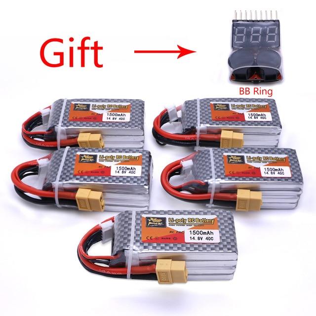 5pcs ZOP Power 14.8V 1500mAh 4S 40C Lipo Battery XT60 Plug Rechargeable Battery