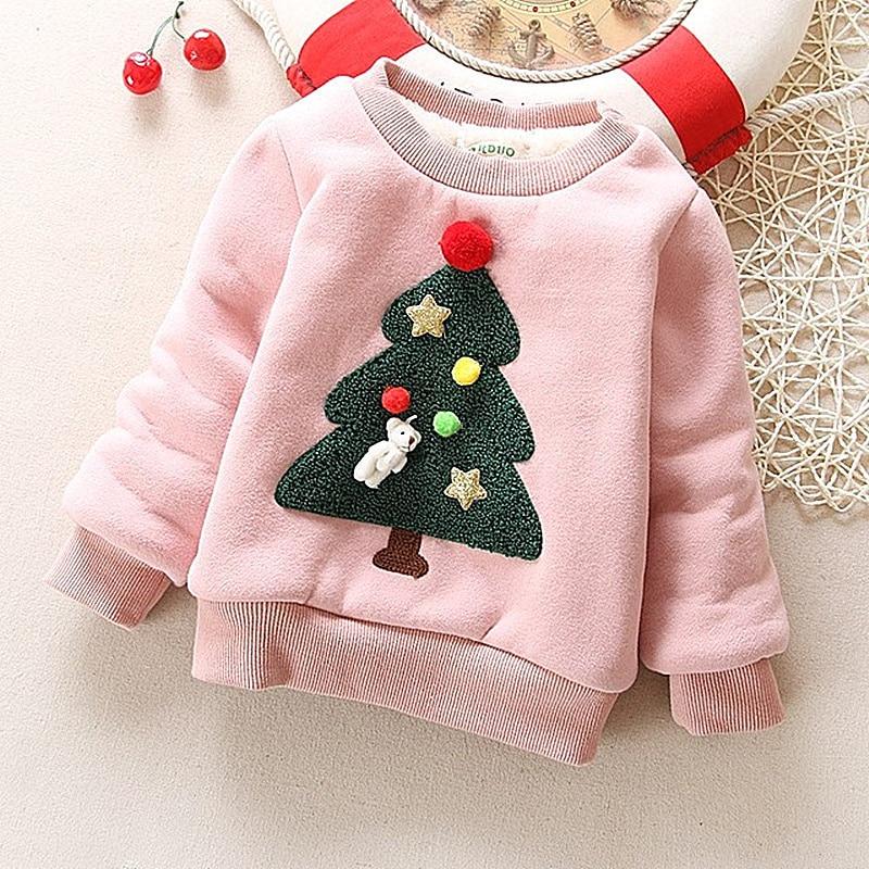Winter Children Kids Boys Girls Christmas Sweater Baby Plus Velvet