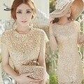 2016 Hot Promoção Vestidos Das Mulheres Elegante Floral Crochet Lace Pérola Frisada Partido Mini Vestido Da Dama de honra Vestido Mujer Vestidos Saia