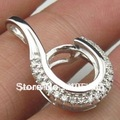 10x8mm Oval Shape 14k White Gold Semi Mount Diamond Pendant