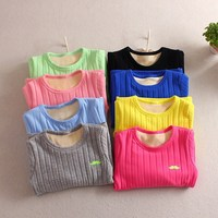Boys and girls plus velvet thick cotton T shirt 2018 autumn and winter new candy color double layer shirt children's clothes