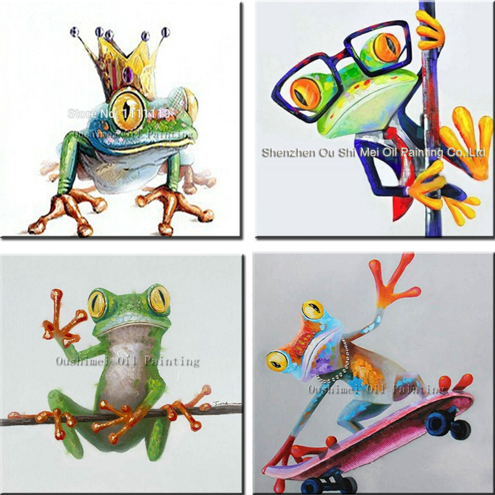 Ručně malované olejomalba žába princ obrazy pro obývací pokoj nástěnné obrazy moderní vtipné zvířecí obrazy plátno obrázky
