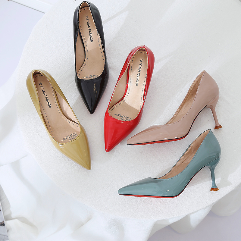 Phyanic Sexy Patent Leather High Heels Blue Nude Pointed toe Pumps Shoes Party Shoes Women Stiletto High heel Pump 7cm 2018 New цена