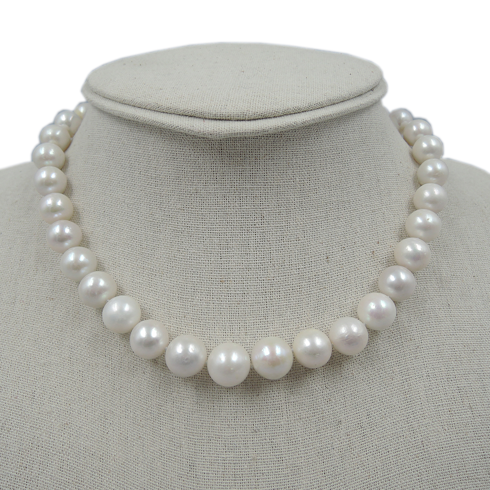 100% NATURE FRESH-WATER ROUND PEARL NECKLACE-AAAA+ 12-13 mm pearl good quanlity