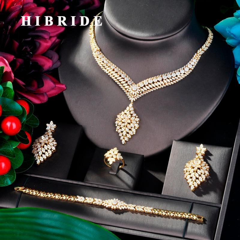 Hibride 럭셔리 디자인 골드 컬러 웨딩 신부 큐빅 지 르 콘 목걸이 두바이 4 pcs 드레스 쥬얼리 파티 선물 N 833 대 한 설정-에서보석 세트부터 쥬얼리 및 액세서리 의  그룹 1