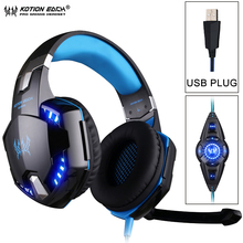 KOTION EACH G2200 USB 7.1 Surround Sound Vibration Game Gaming Headphones Computer Headset Earphone Headband with Mic LED Light