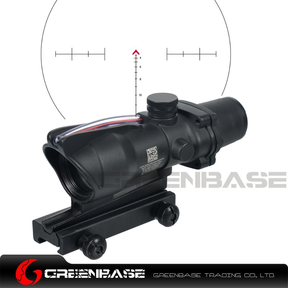 Greenbase Tactical Hunting Riflescope Chevron Reticle ACOG 4X32 Scope Real Fiber Optics Red Green Illuminated Optical Sight aim o hunting reddot acog 4x32 optical rifle telescope red green reticle with mount 1 set ao5318