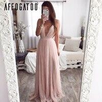 6d934e2e3cdfcb Affogatoo Sexy Deep V Neck Backless Summer Pink Dress Women Elegant Lace  Evening Maxi Dress Holiday