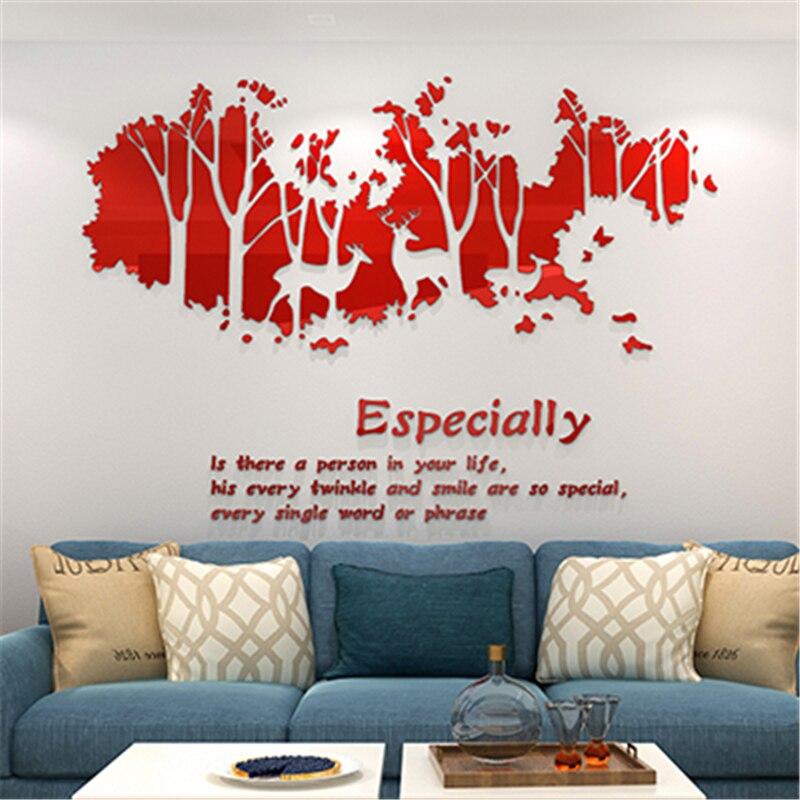 Rouge Elk forêt TV mur en trois dimensions cristal acrylique stickers muraux salon canapé arrière-plan décoration de la maison autocollant 3D