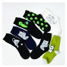 2017 Brand Elegant Creative Women & Man Cat Socks Kawaii Ladies Cartoon Cotton Art Socks Funny Alien Planet Socks