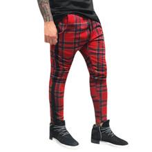 JAYCOSIN Men s fashion plaid pocket string sports pants men s sports and leisure fitness pants