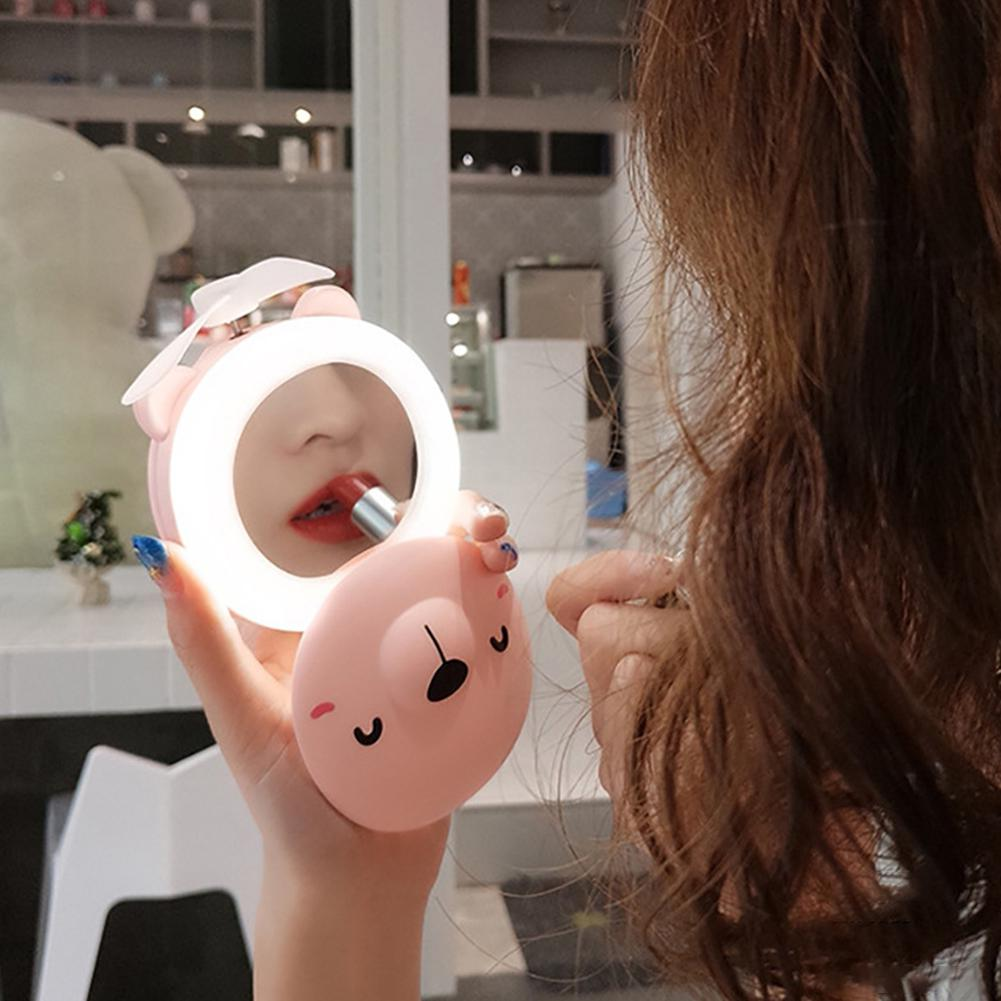 HobbyLane 1pcs Portable LED Cartoon Pig Fill Light Makeup Mirror Fan Bright Adjustable USB Charging Portable Handheld Mini Fan