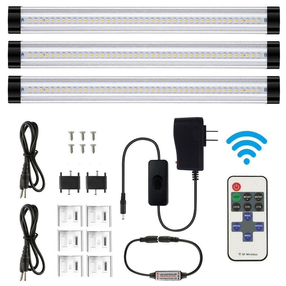 3PCS LED Under Cabinet Light Smd 2835 30CM Remote Control Dimmable Kitchen Lights Wardrobe Bar lamp Strip lamps home Decoration