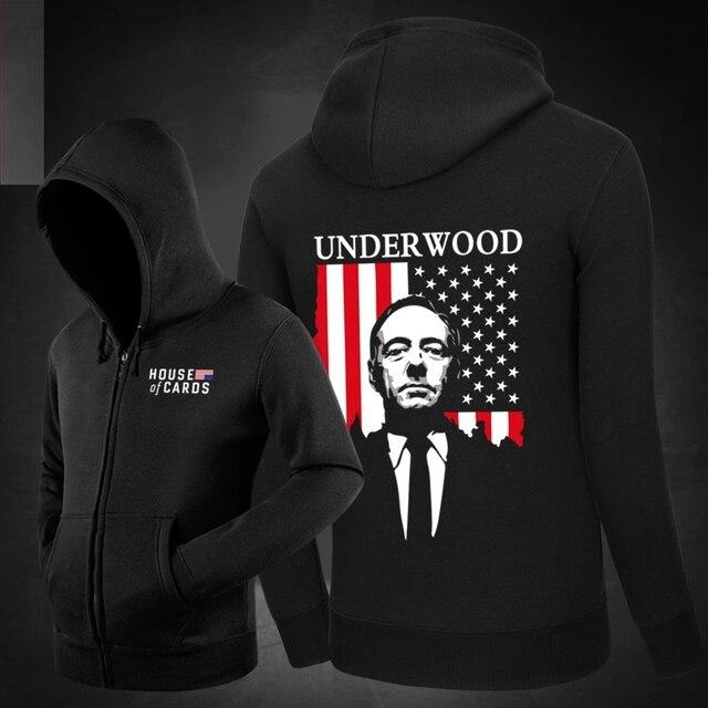 Hot House of Cards Frank Underwood Hoodies Hoody  Sweatshirts Outerwear Unisex Cotton Zipper Coat Kevin Spacey