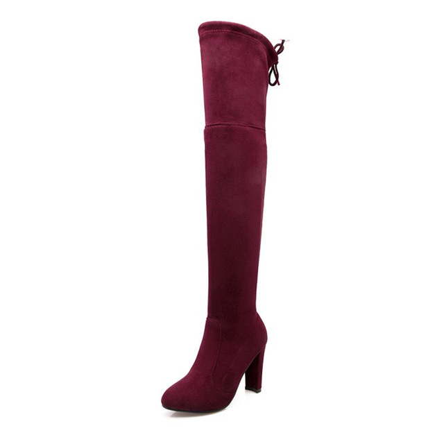 WOMEN Winter Warm Faux Suede Over Knee High Boots Slim Fit Thigh with Fur inside