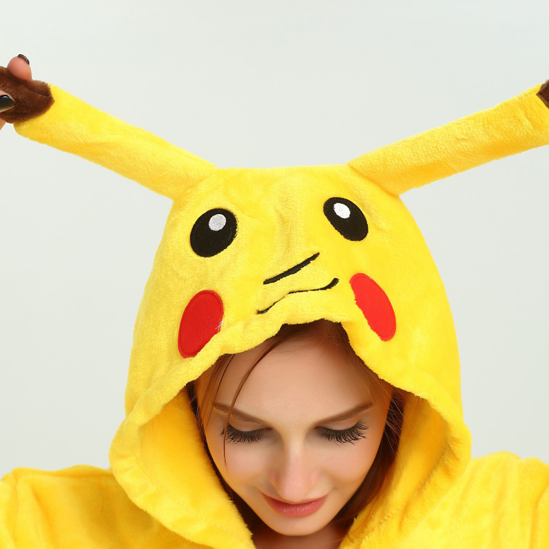 Image 3 - Pikachu Women Cosplay Kigurumi Onesie Adult Funny Animal Sleepwear For Man Loose Warm Anime Pajamas Jumpsuit Winter Onepiece