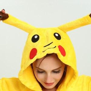 Image 3 - Pikachu Women Cosplay Onesie Adult Funny Animal Sleepwear For Man Loose Warm Anime Pajamas Jumpsuit Winter Onepiece