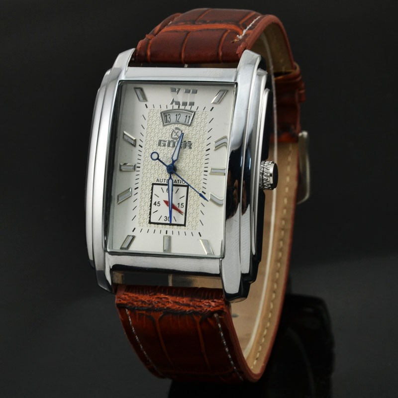 New Men's Rectangular Business Casual Calendar Belt Automatic Mechanical Watch