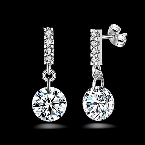 Female Fashion 925 Silver Plated Diamond Pearl Ear Stud Earrings