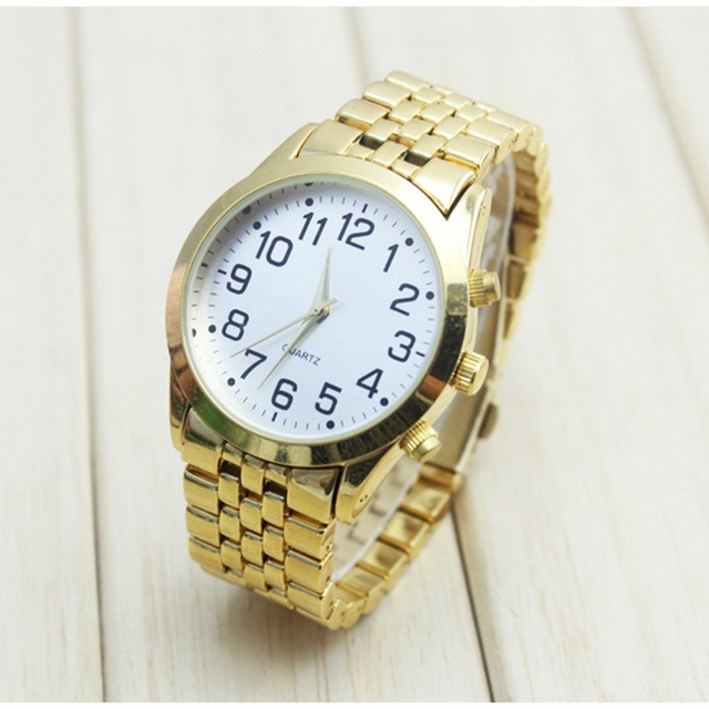 High Quality Old Men People Watch Big Number Stainless Steel Bracelet Wristwatch