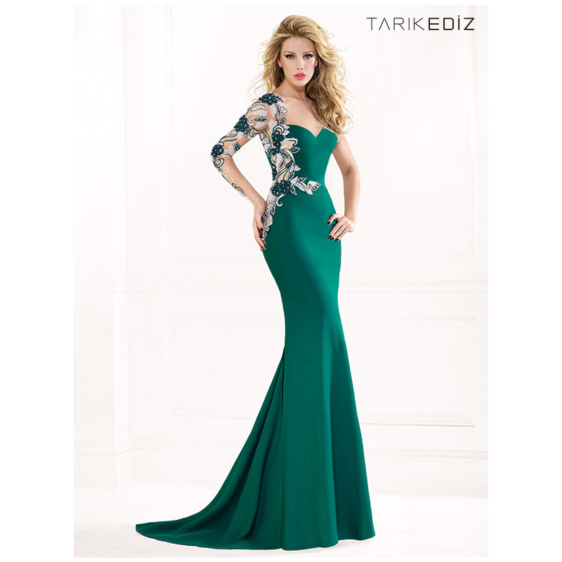 Emerald Green Evening Gown 2018 Vestido Plumas Modest Embroidery Flower Beaded Robe De Soiree Mother Of The Bride Dresses