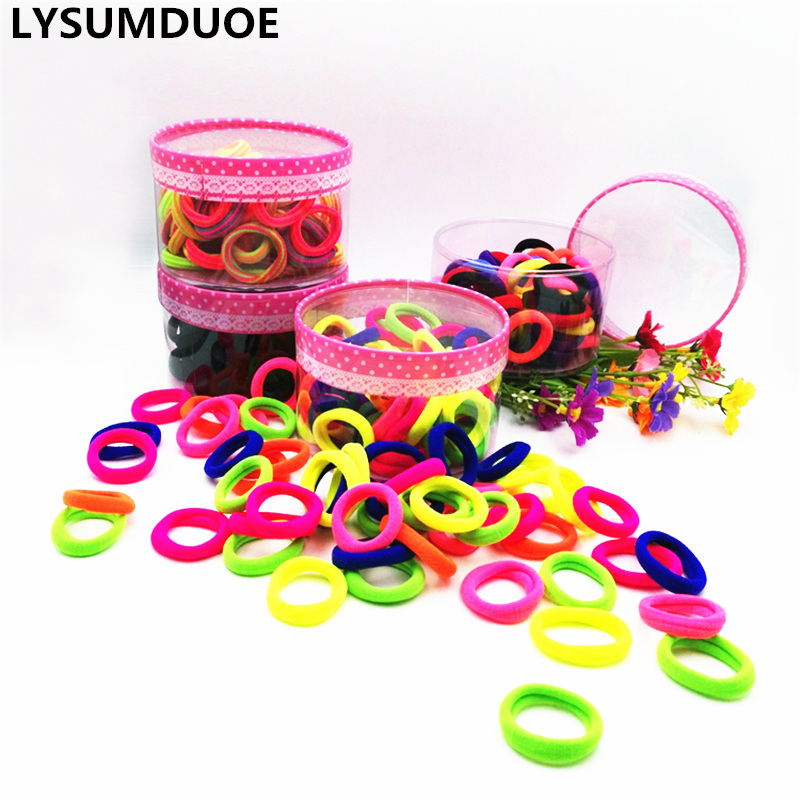 100pcs Girl Elastic Hair Bands Ponytail Holder Cotton Hair Baby Accessories Solid Kid Ring Mini Rope Children Jewelry Accessory high quality 5pcs set summer girl print elastic hair band cute rubber band knot hair rope women hair accessories ponytail holder
