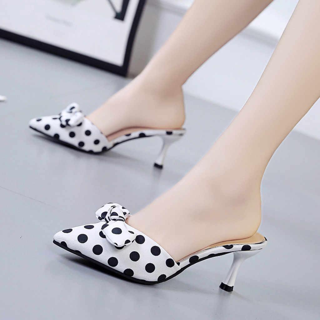 נשים סנדלי גלדיאטור פלטפורמת משאבת נעלי אמצע העקב מנוקדת ספוט מסיבת הבוהן מחודדת אלגנטי גבוהה עקבים משאבות Chaussure