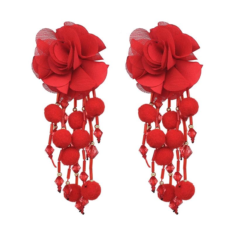 JUJIA Bohemian Long Flower Earrings Pom Pom Big Statement Earrings Fringe Drop Earrings Women Jewelry 7