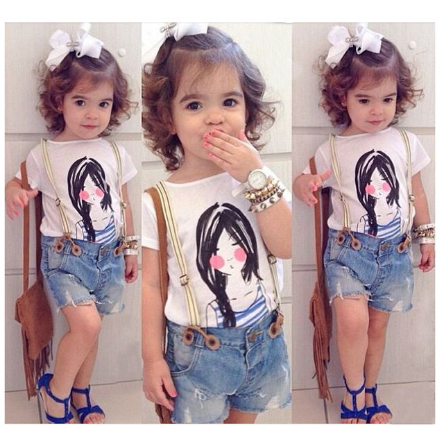74b3d4fde Retail 2015 New Girls cotton T shirt + Flash Denim Overalls Set Kids Casual  girl printed Suit Children fashion clothing outwear