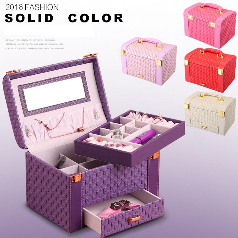 Boîte de présentation de bijoux en cuir PU de haute qualité multi-fonctionnelle 3 couches anneaux collier étui à bijoux dame cadeau fournitures de stockage à la maison