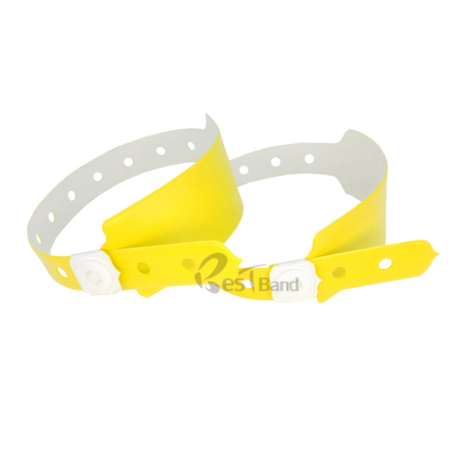50pcs Zinc Yellow Color Plastic Event Vinyl Wristband Bracelet For Ticket Festival Id Bracelets