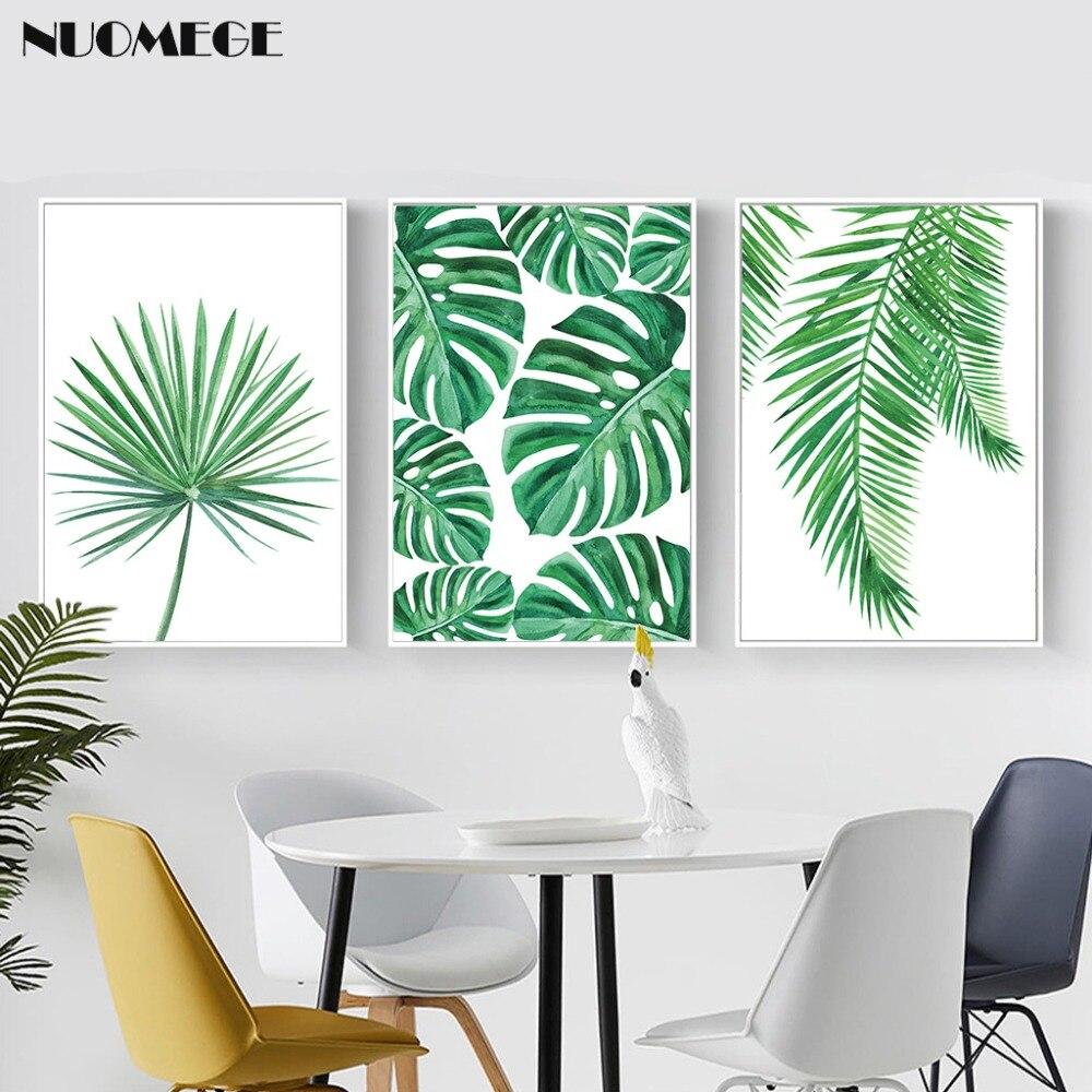 Tropical Palm Daun Kanvas Lukisan Segar Monstera Nordic Minimalis