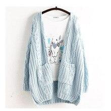 Mori Girl женские весенние милые большой размер Повседневная Симпатичные свободные кардиган Одноцветная верхняя одежда Лолита милый каваи женский свитер рюшами U218