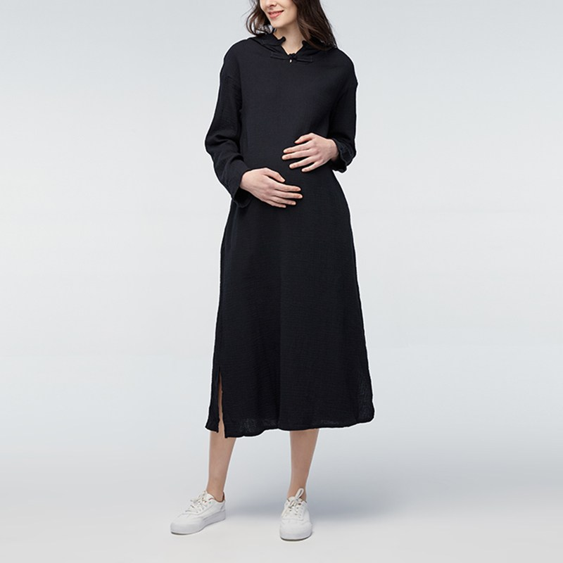 Maternity Clothings 2018 Pregnancy Women Hooded Vintage Mid-calf Dress Pregnant Casual Loose Long Sleeve Cotton Vestidos 5XL