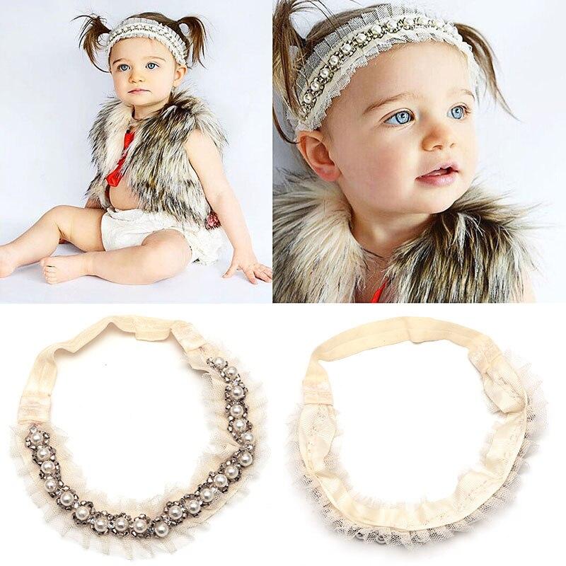 1PCS Girl Kids Lace Elastic Head Band Faux Pearl Rhinestone Headband Headdress hair decoration wy0035