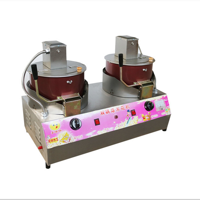 Commercial 2 Cylinder Popcorn Machine Gas Full-automatic Stirring Popcorn Maker Stainless Steel Machine Non-stick Inner pop 08 commercial electric popcorn machine popcorn maker for coffee shop popcorn making machine