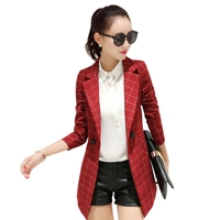 Female Blazer 2018 Spring New Blazer Women Jacket Slim Medium-long Plaid Long-sleeve Casual Tunic Suit OL Office Lady Blazer