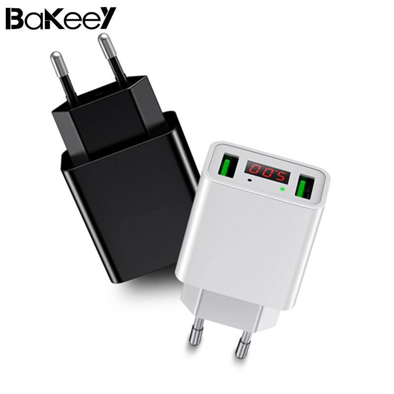 D'origine Bakeey 2.2A Double Ports LED Afficher UE Plug Rapide chargeur Pour iPhone X 8 Plus Oneplus 5 t Xiaomi 6 Mi A1