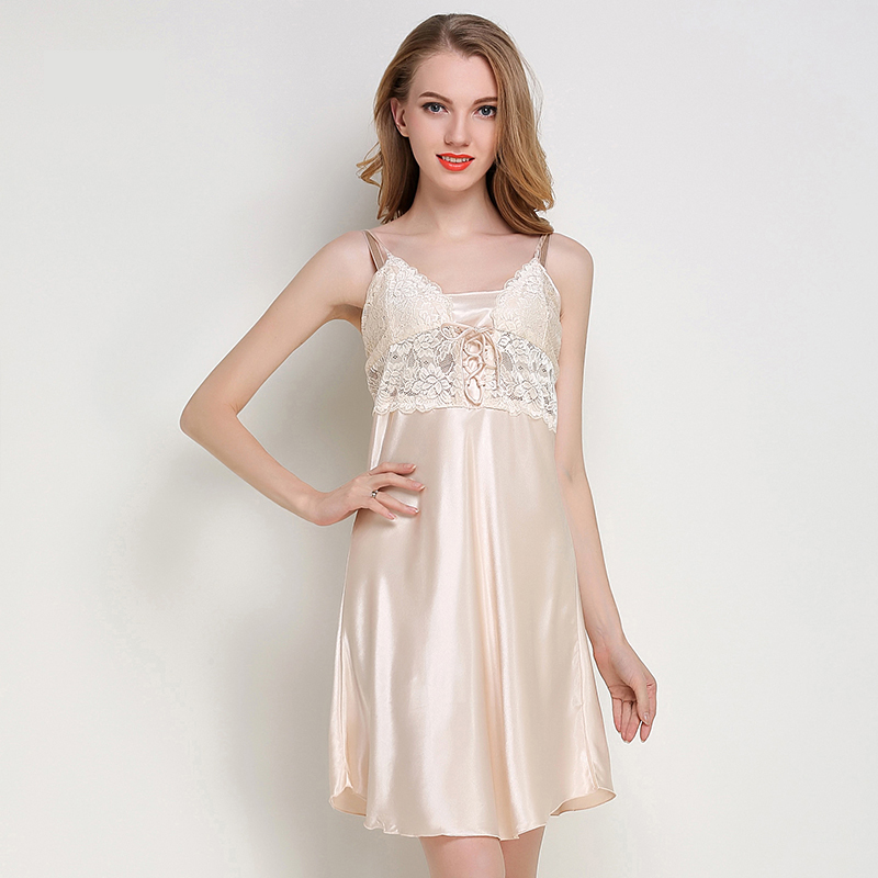 Jiazili 2018 New Sexy Silk Satin Night Dress Sleeveless Nighties V-neck Nightgown Nightdress Sleepwear Lace Nightwear for Women