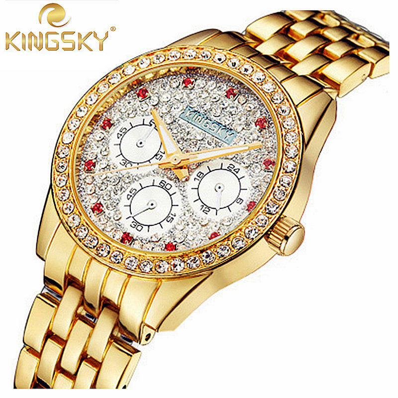 KINGSKY Luxury Famous Brand Gold Alloy Watch Women Diamond Red Crystal Quartz Fashion Dress Wrist Watches Clock Relogio Feminino xinew gold watch top brand luxury famous golden calendar women quartz watches relogio feminino crystal clock hot christmas gift