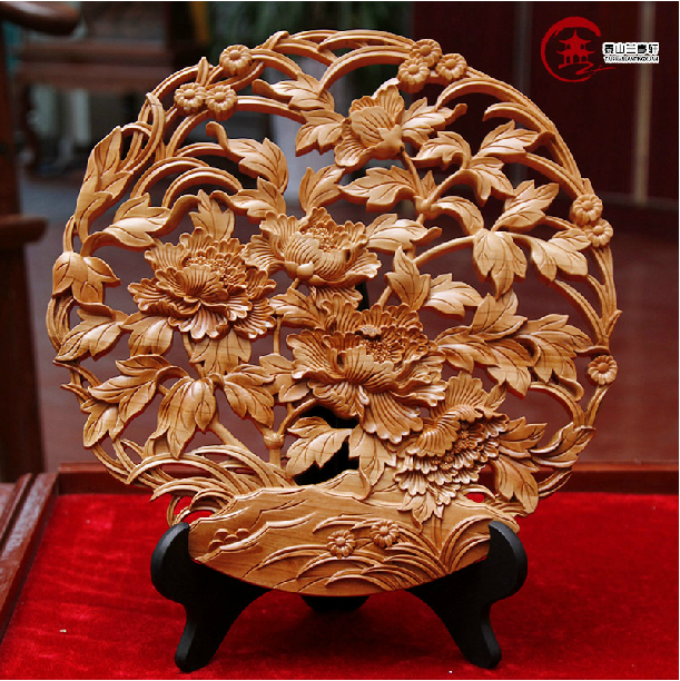Mahogany Peony Flower Sculpture Chinese Vintage Style Wood Carving Crafts Home Decor Lucky Craft Accessories Handicraft