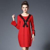 L-5XL Duży Rozmiar 2017 Hollow Koronka Sukienka Sexy Pełna Flare Bowetie Koronki rękawa O Szyi Kobiety Ubierają Odzież Czerwony Kolor Vestidos