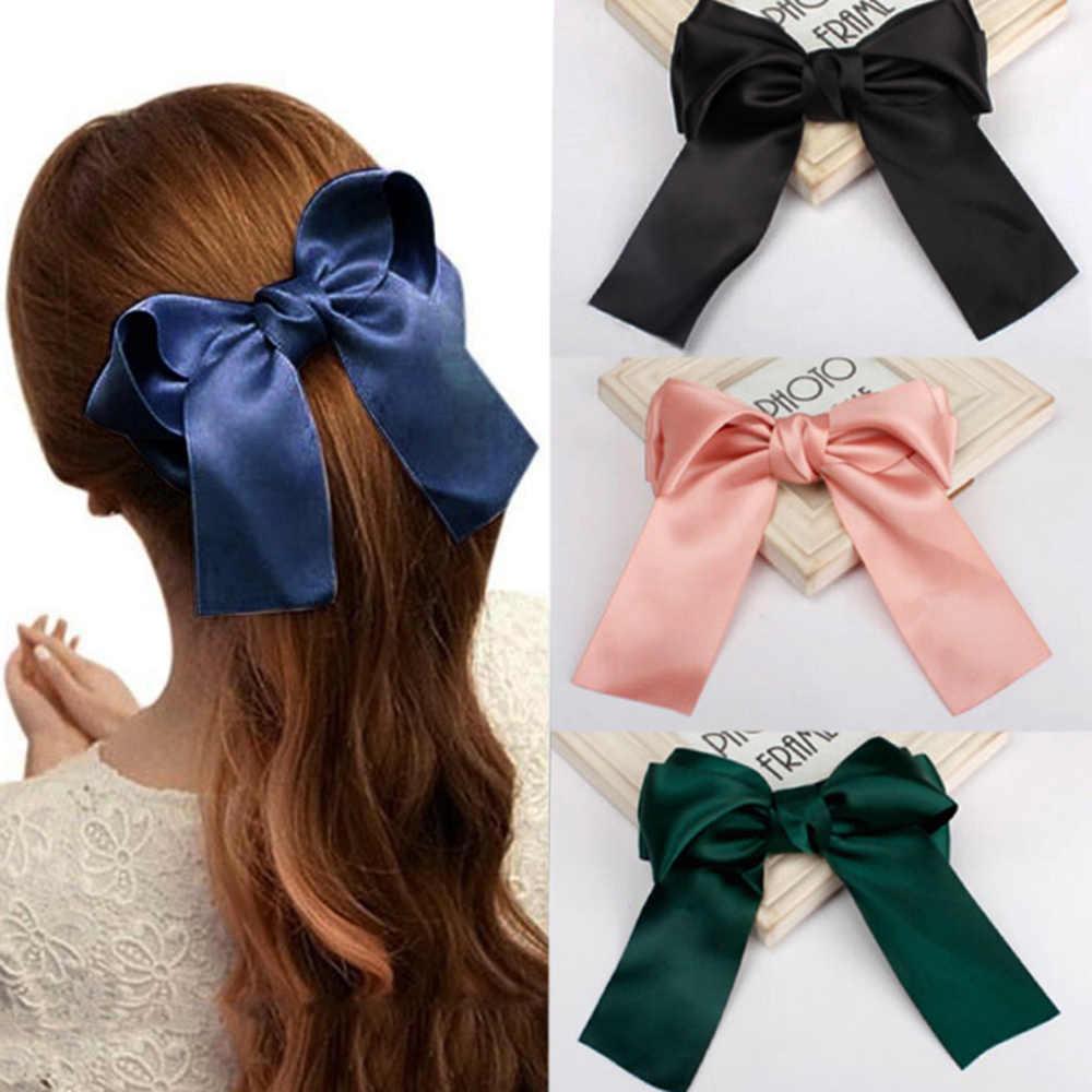Корейская Новинка, модная лента, большой бант для волос, Шпилька для девушек, аксессуары для волос, атласная трендовая заколка для волос