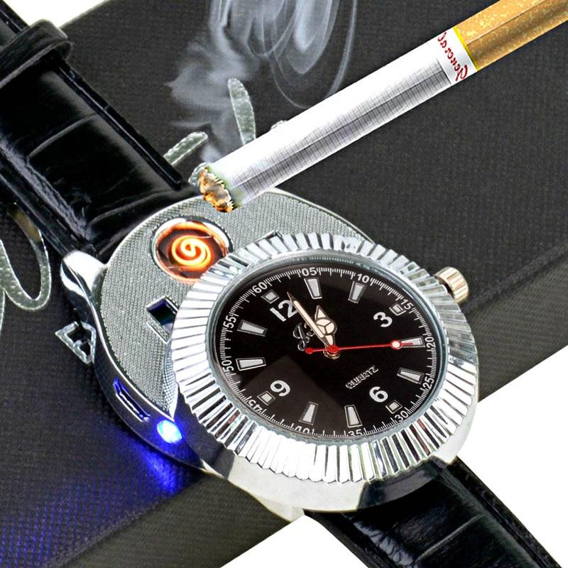 f09ad42b544 Relógios homens À Prova de Vento Isqueiro com Carregador USB recarregável  Sem Chama Isqueiro de pulso dos homens relógios relogio masculino 25 em  Relógios ...